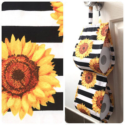 Double Toilet Roll Holder/ Toilet Paper Holder/ Bathroom Storage Yellow Flowers