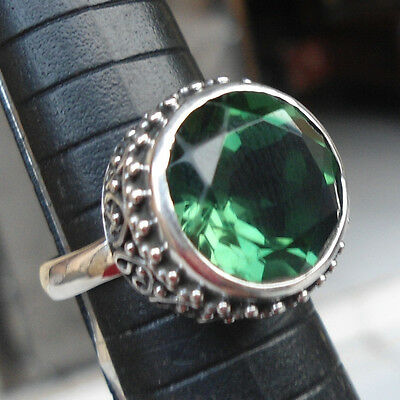 925 Sterling Silver-LH11-Balinese Handcrafted Woman Ring Green Quartz Size 7