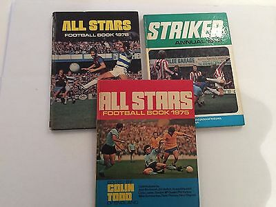 ALL STARS FOOTBALL ANNUAL 1975 & 1978 and STRIKER ANNUAL 1976 - lot of 3