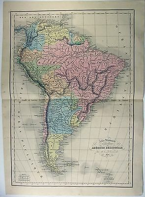 Original 1856 Dated French Map of South America by Delamarche