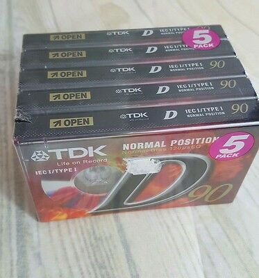 5 Pack - TDK D-90EB5 TYPE I Cassette Tapes New and Sealed