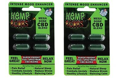 4 x Hemp Bomb Natural Organic Relaxing Supplement Pain Relief = $4.5 for 1