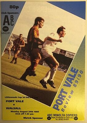 Port Vale v Walsall Programme 29.08.1989 Littlewoods Cup 1st Rd 2nd Leg