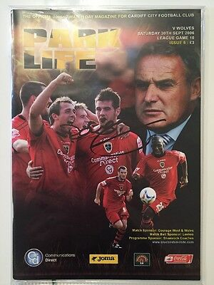 Cardiff City v Wolves Programme Signed By Dave Jones 30.9.2006