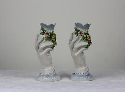 Antique Pair Porcelain German Floral,  Vases by Dresden Coburg Factory.