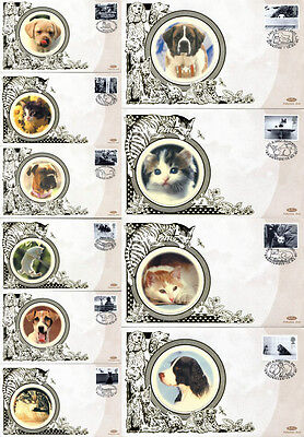 13 FEBRUARY 2001 CATS AND DOGS SET OF 10 BENHAM SMALL SILK FIRST DAY COVERS SHSs
