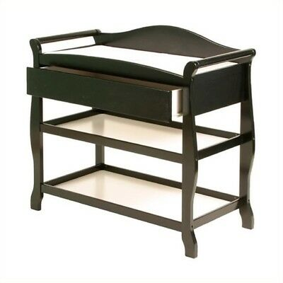 Stork Craft Aspen Sleigh Changing Table with Drawer Wood in Black