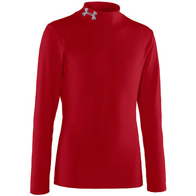 Under Armour Boys Coldgear Fitted Mock LS Base Layer - Red - M