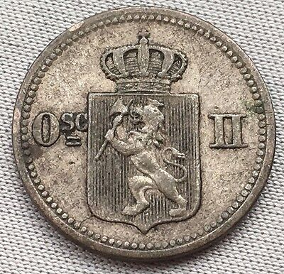 NORWAY 10 Ore 1874 3 Sk Silver Coin Osc 2nd