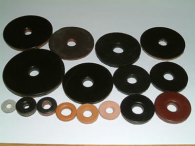 Leather Washers-I/D's from 5.3mm up to 11.9mm. 14 different sizes, 10 per pack