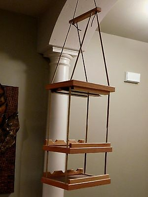Wood Three Tier Six Bottle Hanging Wine Rack Holder with Glass Holders