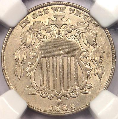 1883/2 Shield Nickel 5C Coin FS-303 Variety - NGC Uncirculated Detail (UNC MS)!