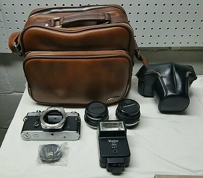 Vintage Olympus OM-1n 35mm Film Camera W/2 Lenses, Flasher, Strap, Case & Bag