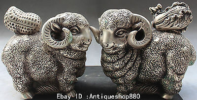 """6"""" Chinese Silver Fengshui Zodiac Year Sheep Cabbage Peanut Animal Statue Pair"""