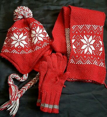 children hat scarf and gloves set red