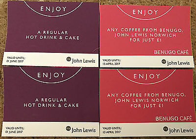 John Lewis Coffee And Cake Vouchers X 2 Valid Until 1 June 2017
