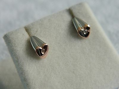 Clogau Silver & 9ct Welsh Gold Cariad Diamond Stud Earrings RRP £169.00