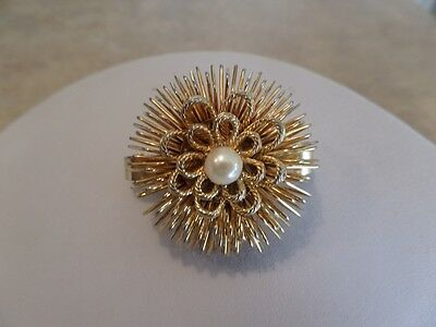 Vintage Gold Tone and Faux Pearl Flower Scarf Clip W2