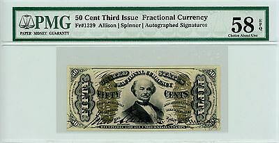 """3rd Issue Fr.1329 50c U.S. """"Spinner"""" Fractional Currency - PMG Ch.AU 58 EPQ"""