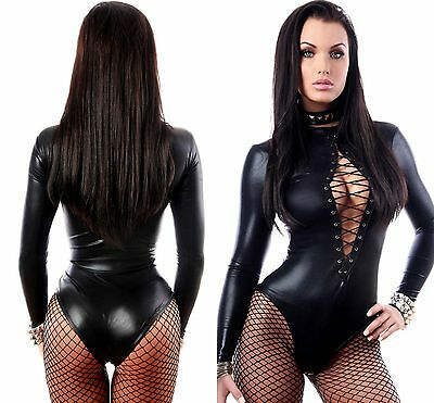 Black Wet Look Long Sleeve Bodysuit Pole Dancer Stripper Lingerie 6 8 10 12 14
