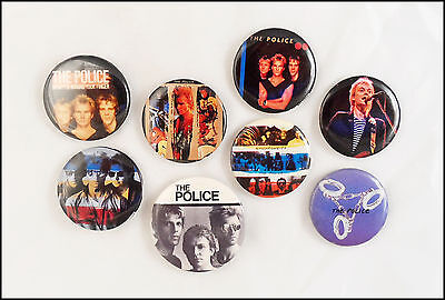 THE Police Lot Of 8 80's Buttons Pins Sting Synchronicity
