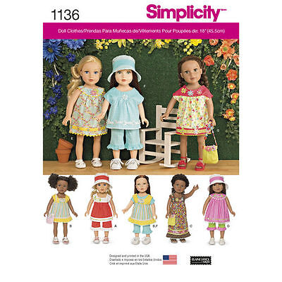 18-inch Doll Variety Clothes Sewing Pattern # 1136 Size: OS