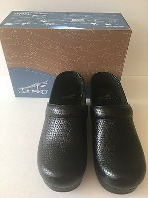 Dansko Professional Womens Woven Black Leather Slip On Clogs Shoes Size 39 New