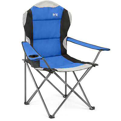 Folding Camping Chair Luxury Padded Heavy Duty High Back Directors Cup Holder