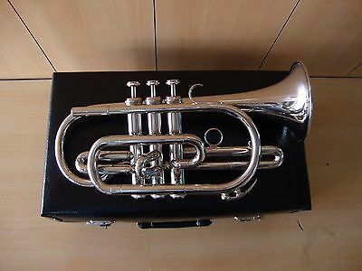 Bb FLAT CORNET SILVER CHROME PLATED WITH FREE HARD CASE+MOUTHIPIECE+FAST SHIP