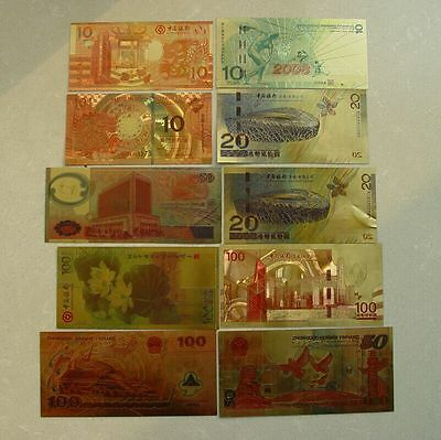 Bank of China 10pcs Money Different Versions Plastic Ornamental 24K Gold Foil .