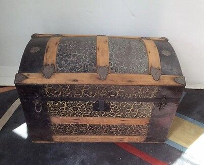 DOME TOP 1800s CAMELBACK TRUNK TRAIN LUGGAGE