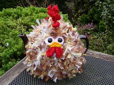 Hand Knitted Fluffy Chicken Tea Cosy – for medium (4-6 cup) teapot