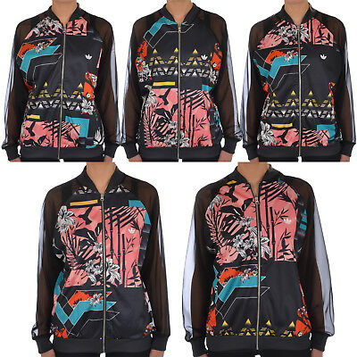 adidas Originals Womens Soccer Mesh Floral Tracksuit Track Jacket Top - 14