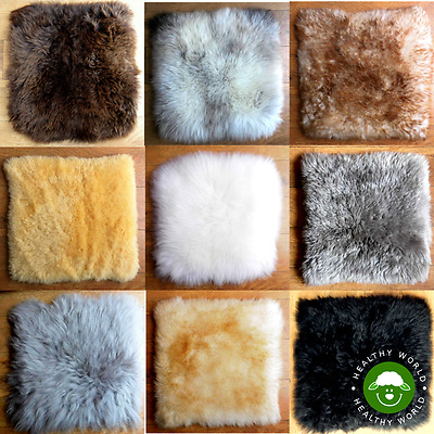 GENUINE SHEEPSKIN Mini Rug Chair Seat COVER, Dog Cat BED, Car Motorcycle Pad