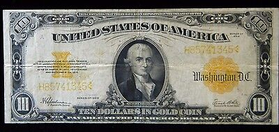 1922 $10 Gold Certificate***fr-1173***fine Plus Condition***sn: H85741345***abe