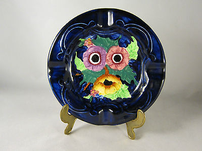 Decorative Painted Ashtray by Maling England - Blue Floral Vintage c.1950s