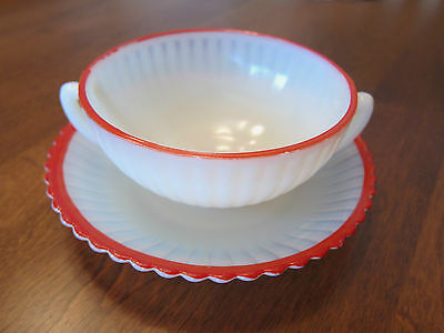 PETAL WARE MONAX CREAM SOUP BOWL & SAUCER RARE RED TRIM MACBETH/EVANS 1930s-40s