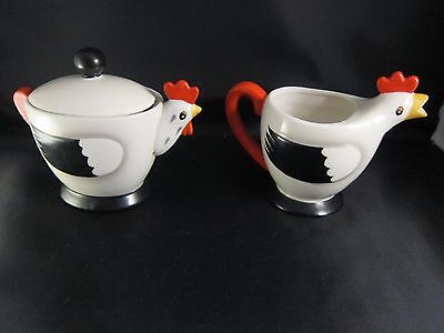 """HOLT HOWARD Rooster, """"Coq Rouge"""" CREAMER AND SUGAR BOWL with LID"""