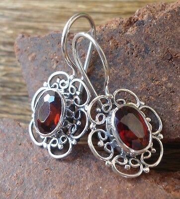 925 Sterling Silver-LL54-Balinese Handcrafted Earring With Garnet