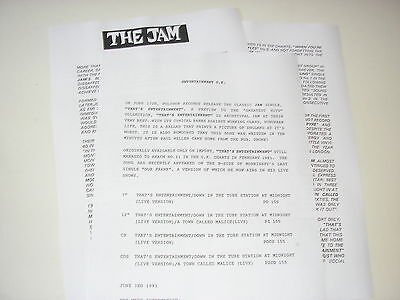 The Jam - Polydor press release 1991 That's Entertainment