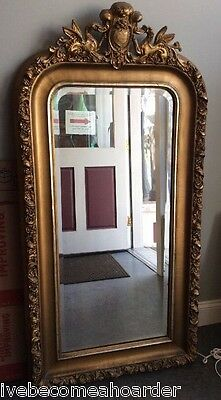 Antique Gold Gilted Italian Style Figural Hall Hanging Wall Mirror