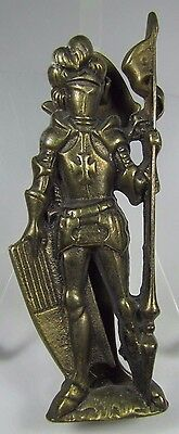 Old Brass Figural KNIGHT IN ARMOR Door Knocker nicely detailed hardware