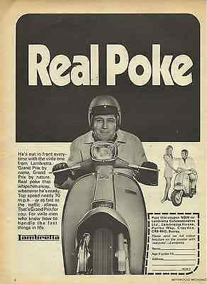 Orig. 1970 Lambretta Scooter Kitsch 'poke' Sales Poster/ad