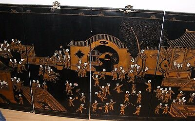 """4 Vintage Chinese Black Lacquer And Gilt Wall Panels Hangings 100 Boys Large 72"""""""