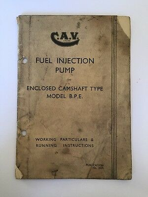CAV Ltd Fuel Injection Pump Enclosed Camshaft Booklet