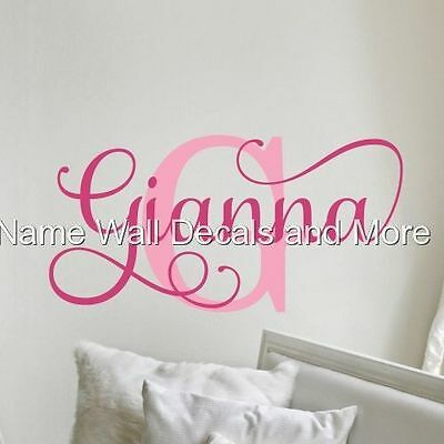 S Initial Monogram Personalized Name Vinyl Wall Decal Decor Nursery Bedroom