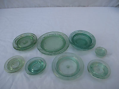 8x VINTAGE OLD ANTIQUE GLASS PRESERVE PICKLE JAM JAR BOTTLES LIDS TOPS c1910