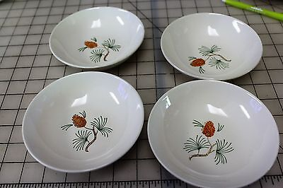 """set of 4 Vintage Stetson Marcrest 5 1/4"""" BERRY BOWL USA Brown Green Pine Cone"""