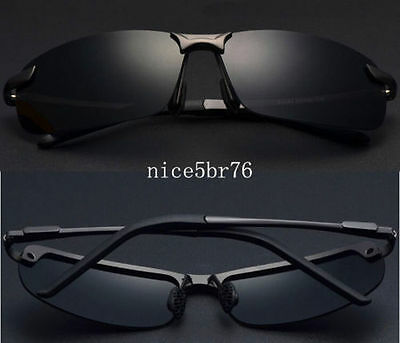 New Mens Black Polarized Lens Aviator Outdoor Sports Eyewear Driving Sunglasses