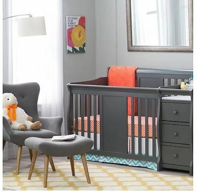 Baby Crib Changing Table Set Gray Infant Nursery Furniture Wood Toddler Bed Boys